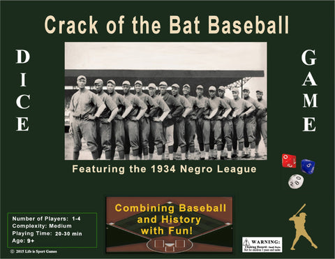 Crack of the Bat (COTB) Baseball Game - 1st Ed 1934 Negro League Teams - Player Sheet Ed