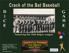 Crack of the Bat (COTB) Baseball Game - 1st Ed 1934 Negro League Teams - Individual Card ed