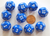 "12 Sided Blue Polyhedra Dice 3/4"", 19mm, Numbered 1 through 12 (set of 10 dice)"