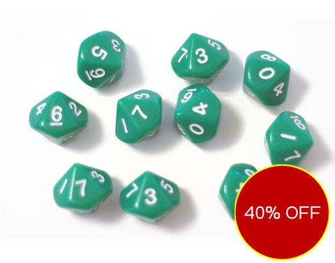 Set of 10, ten sided green dice, d10 Polyhedra numbered 0 through 9