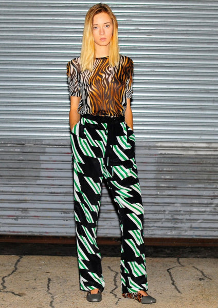 DEREK LAM 10 CROSBY : PATTERN SILK PANTS, BLACK/GREEN MULTI $375 (SOLD OUT)