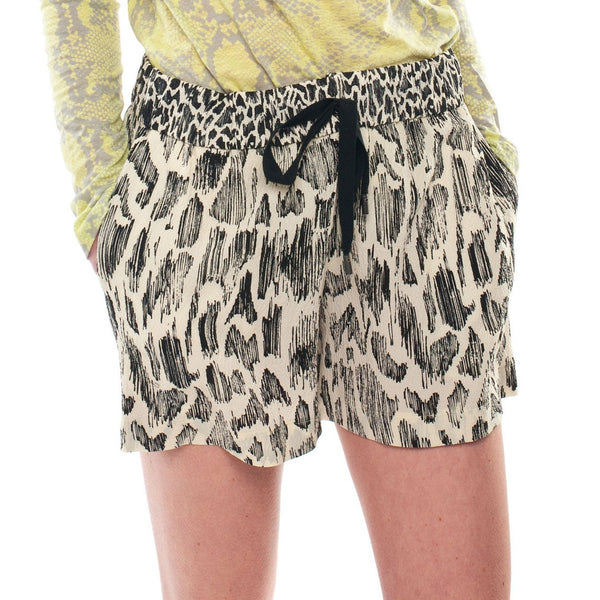 DEREK LAM 10 CROSBY : PATTERN SILK SHORTS, IVORY/BLACK $295