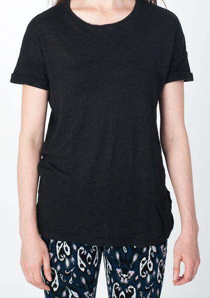 FRAME : LINEN TEE WITH CUFFED SLEEVES, BLACK $99 (SOLD OUT)