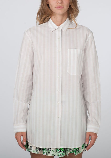 ATM ANTHONY THOMAS MELILLO : OVERSIZED STRIPE SHIRT, WHITE/BEIGE $235 (SOLD OUT)