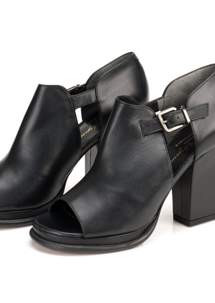 ROBERT CLERGERIE : LEATHER OPEN TOE BOOTS, BLACK $850