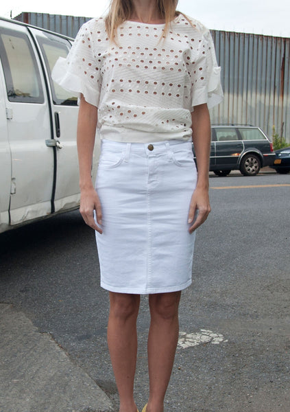CURRENT/ELLIOTT : DENIM PENCIL SKIRT, WHITE $164 (SOLD OUT)