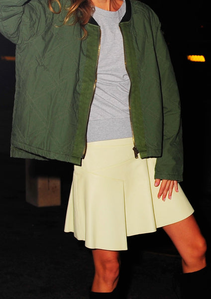 DEREK LAM 10 CROSBY : ASYMMETRICAL LEATHER SKIRT, LIME CREAM $695