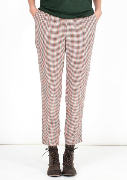 EQUIPMENT : HOUNDTOOTH PRINT SILK PANTS, RED/GREY MULTI $248