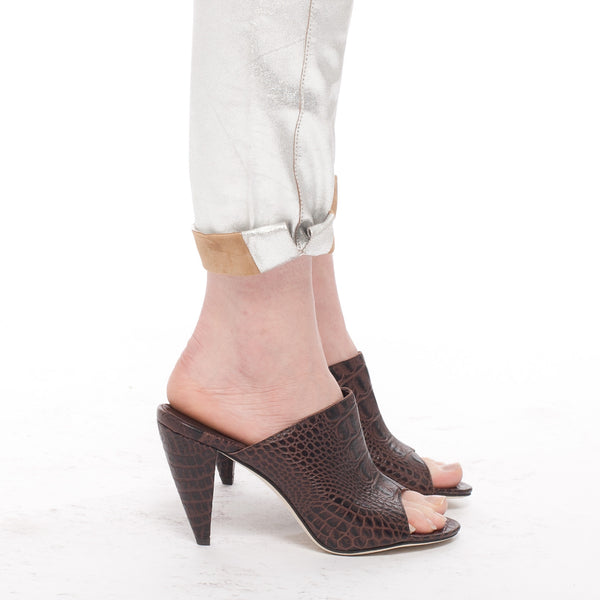 KA FOR THE CURRENT : CROC MULE HEELS, BROWN MULTI $325