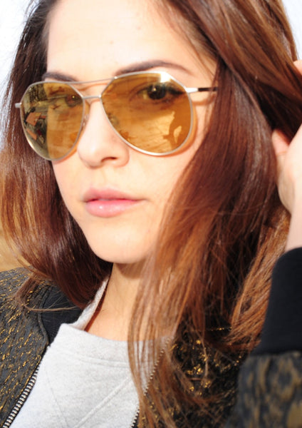 JIL SANDER : METAL AVIATOR SUNGLASSES, LIGHT GOLD/AMBER $346