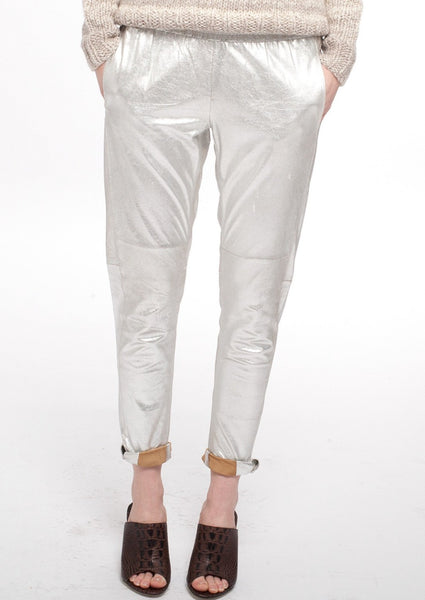MAJE : LEATHER SWEATPANTS, SILVER $680 (SOLD OUT)