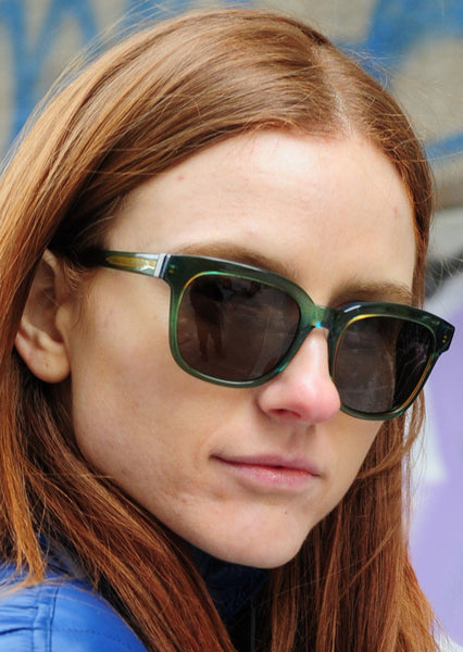 MARC BY MARC JACOBS : SQUARE ACETATE SUNGLASSES, GREEN/BROWN $120