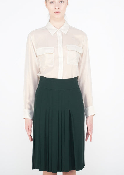 MARNI : PLEATED CREPE SKIRT, DARK GREEN $790 (SOLD OUT)