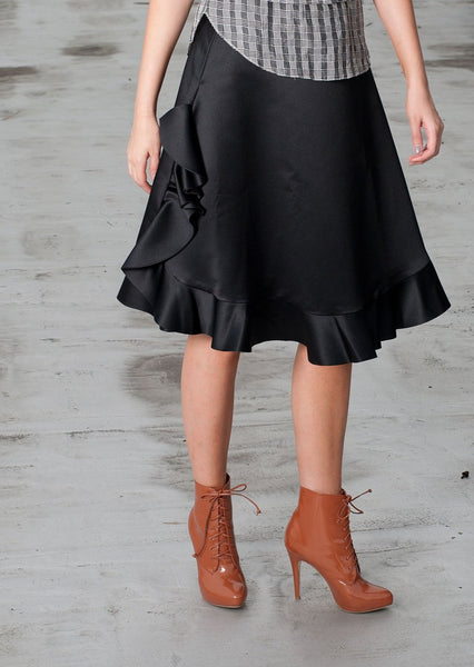 PASKAL : FRILLED CHARMEUSE SKIRT, BLACK $825 (SOLD OUT)