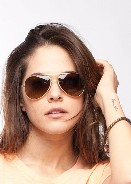 PAUL SMITH : METAL AVIATOR SUNGLASSES, GOLD/BROWN  $380