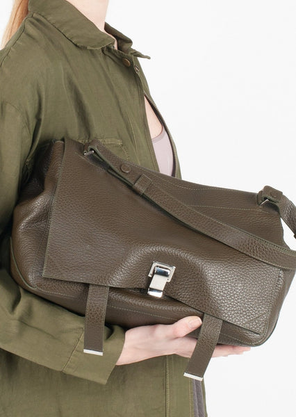 PROENZA SCHOULER : LEATHER LARGE COURIER BAG, OLIVE $5275 (SOLD OUT)