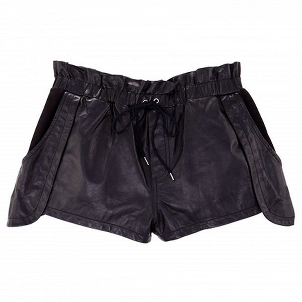 REBECCA MINKOFF : LEATHER SHORTS, BLACK $398