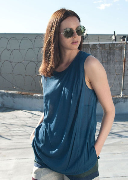 VINCE. : SILK AND MODAL BLOUSE, COBALT BLUE $195 (SOLD OUT)