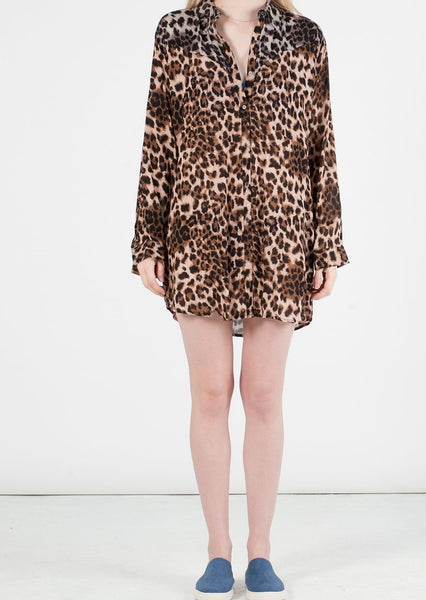 SOMEDAYS LOVIN : LEOPARD PRINT DRESS SHIRT, BROWN MULTI $108 (SOLD OUT)