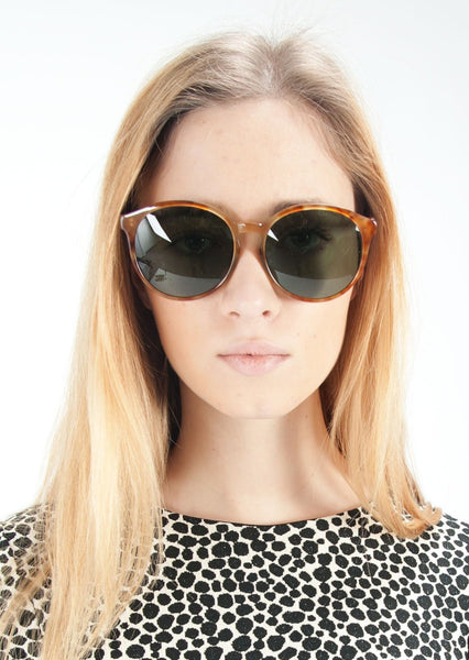THE ROW : ROUND ACETATE SUNGLASSES, AMBER HAVANA $460 (SOLD OUT)