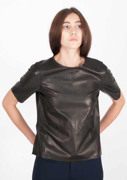 VINCE. : LAMBSKIN LEATHER TOP, BLACK $595 (SOLD OUT)