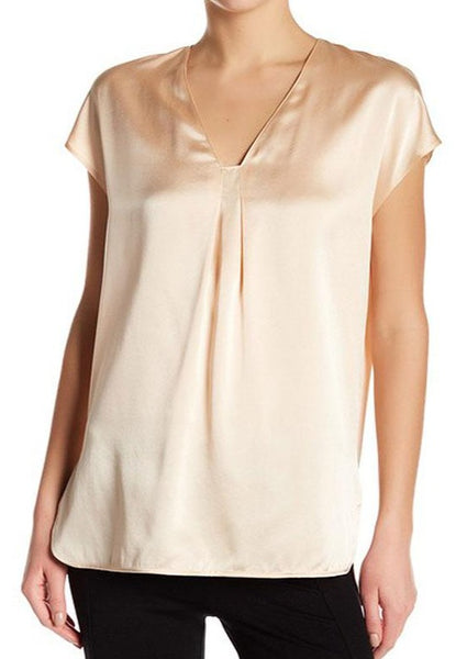 VINCE. : SILK CHARMEUSE BLOUSE, ROSEWATER $265