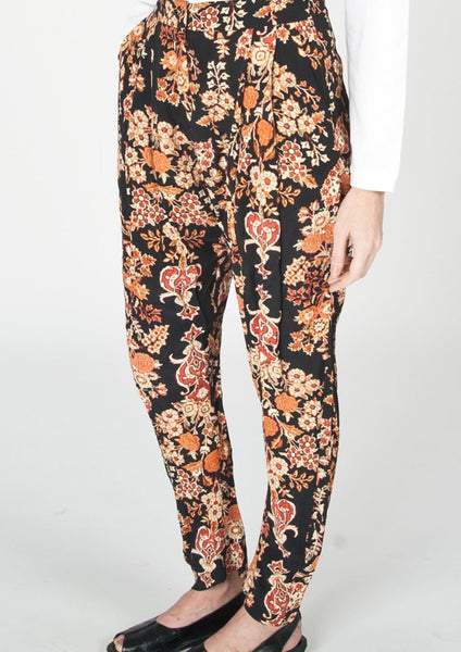VIVIENNE WESTWOOD : PATTERNED SILK PANTS, BLACK/ORANGE MULTI $620 (SOLD OUT)