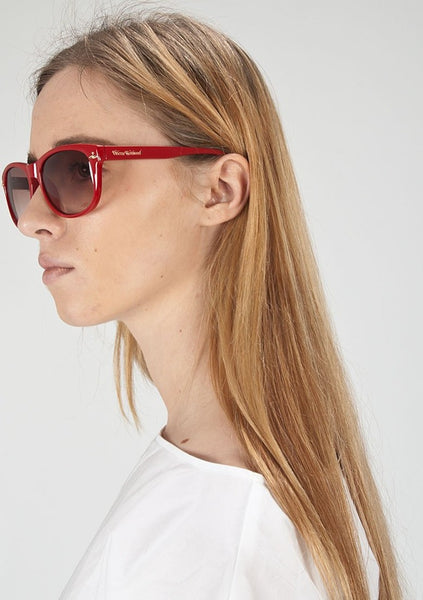 VIVIENNE WESTWOOD : ACETATE SQUARE SUNGLASSES, RED $295
