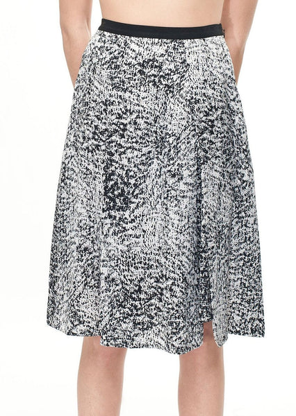 REBECCA TAYLOR : SILK PRINT SNAP SKIRT, BLACK/WHITE $395