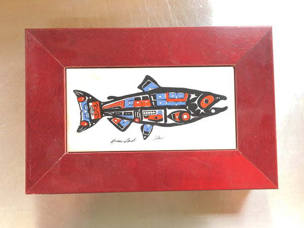 Salmon Wooden Gift Box (Ceramic Inlay)