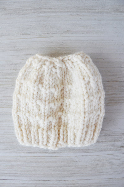Fisherman Messy Bun Knit Beanie