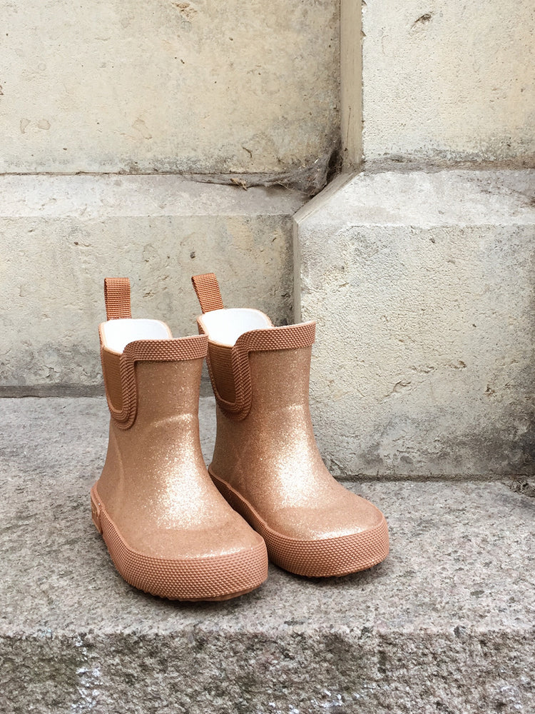 KONGES SLOJD Welly Rubber Boots - Tan Glitter