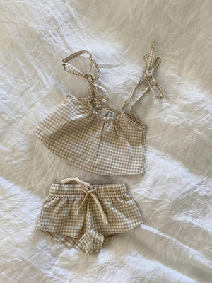 BY BILLIE Gingham Tie Singlet - Biscuit