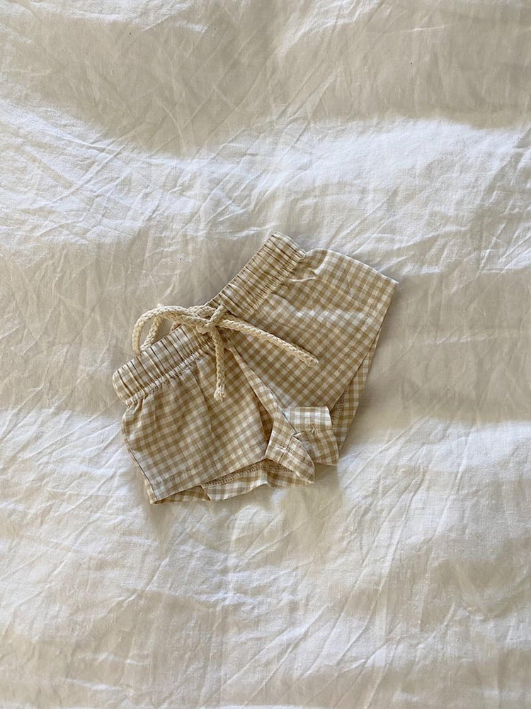 BY BILLIE Gingham Shorts - Biscuit