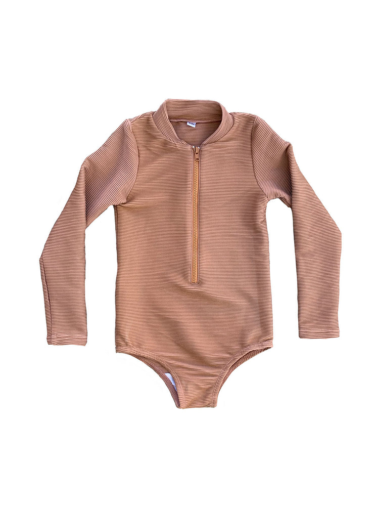 RUFFETS & CO Maggie Rashsuit - Ribbed Clay
