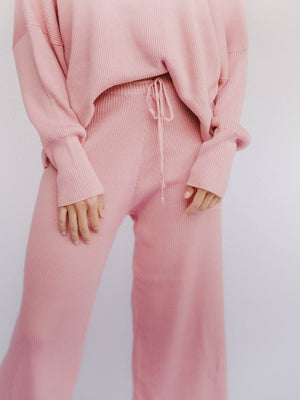 THE LULLABY CLUB Alex Knit Pant - Dusty Pink