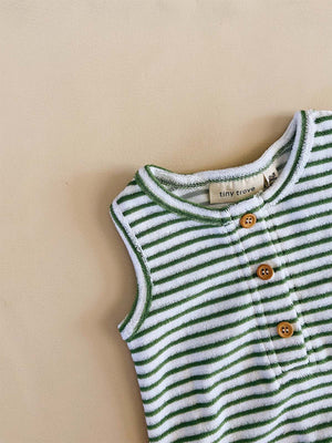 TINY TROVE Uma Terry Towel Bodysuit - Fern Stripe
