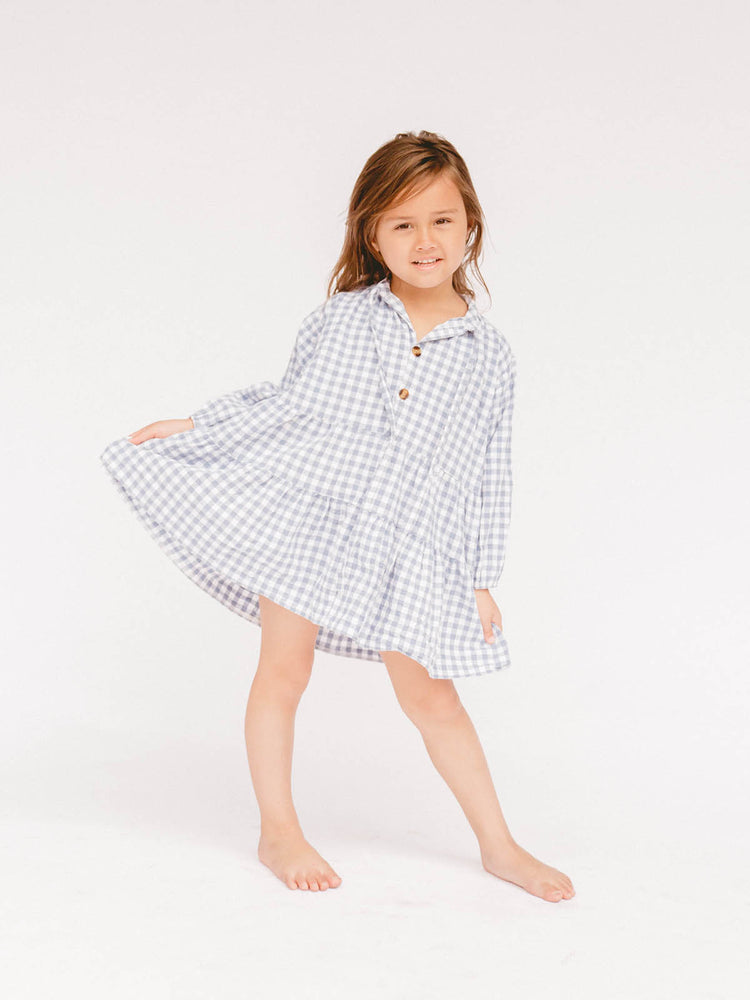 THE LULLABY CLUB Kids Avalon Dress - Blue Gingham