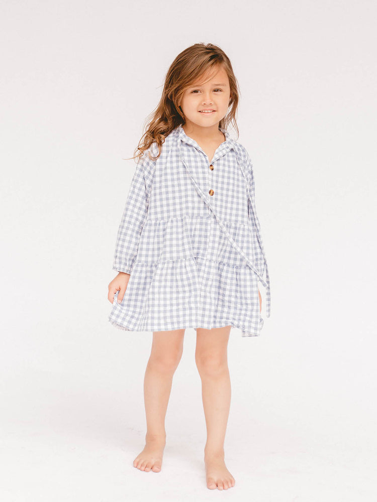 Load image into Gallery viewer, THE LULLABY CLUB Kids Avalon Dress - Blue Gingham