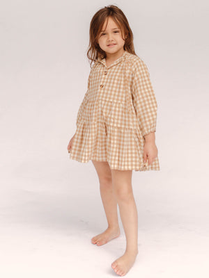 THE LULLABY CLUB Kids Avalon Dress - Caramel Gingham