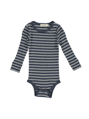 MARMAR COPENHAGEN Long Sleeve Plain Bodysuit - Blue/Grey Melange