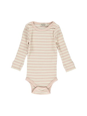 MARMAR COPENHAGEN Long Sleeve Plain Bodysuit - Rose/Off White