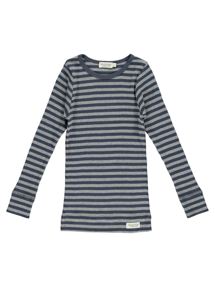 MARMAR COPENHAGEN Long Sleeve Tee Stripe - Blue/Grey Melange