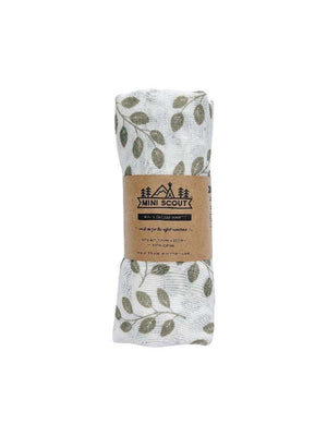 MINI SCOUT Swaddle - Leaves Sage Green