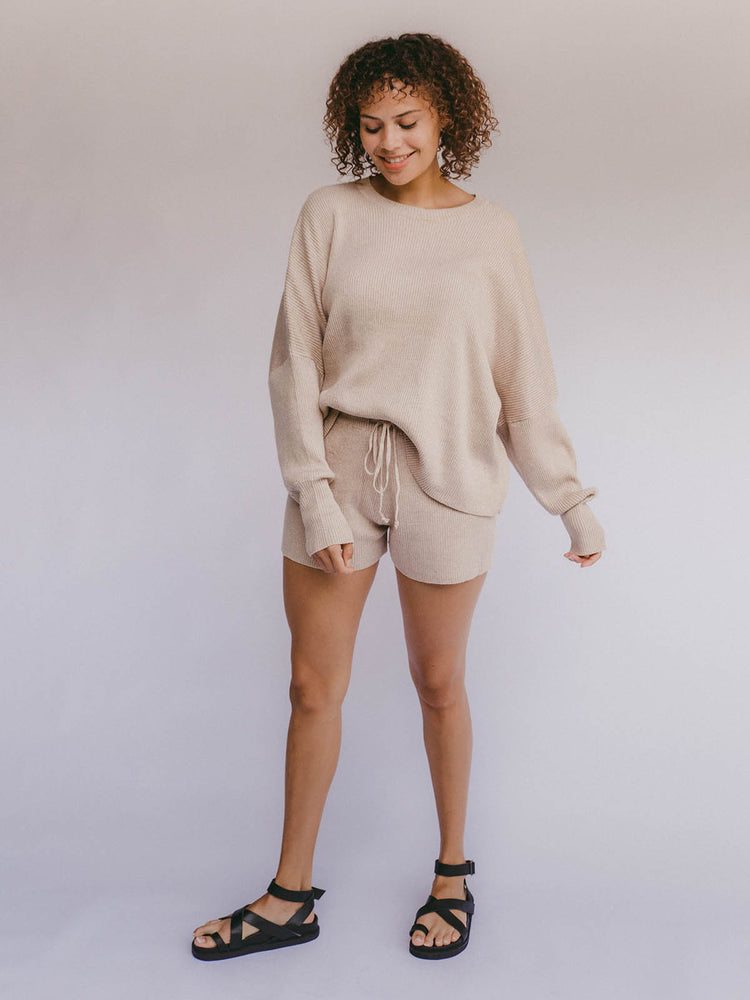 THE LULLABY CLUB Alex Knit Shorts - Sand