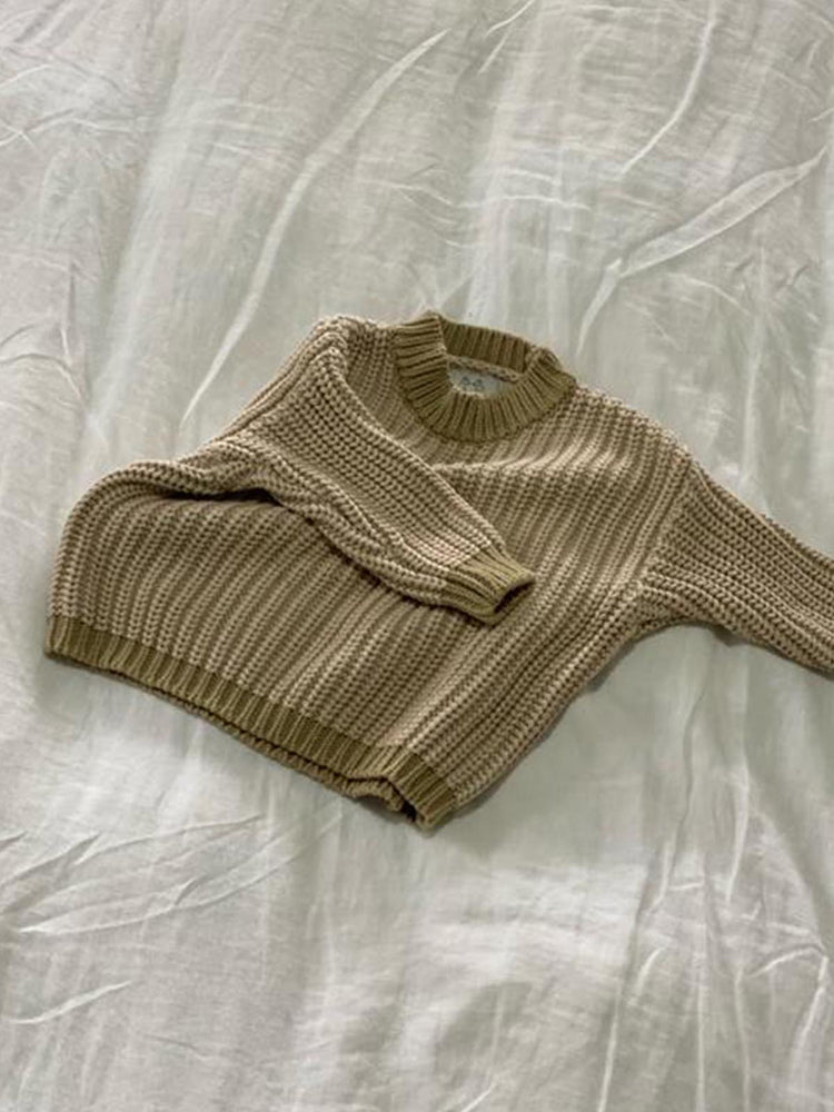 Load image into Gallery viewer, By Billie Contrast Knit Sweater Beige
