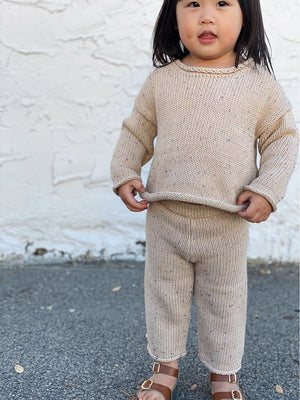 TINY TROVE Pepper Sprinkle Knit Jumper - Biscuit