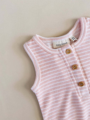 TINY TROVE Uma Terry Towel Bodysuit - Pink Stripe