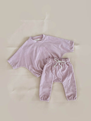 TINY TROVE Romy French Terry Lounge Set - Powder Pink