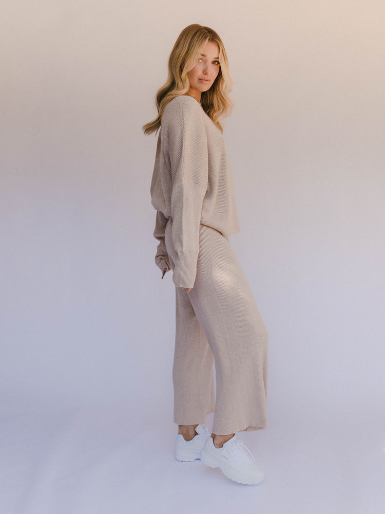 THE LULLABY CLUB Alex Knit Pant - Sand